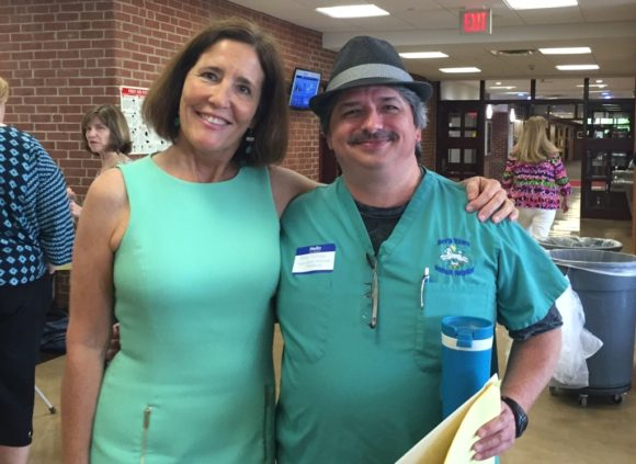 Dr. Dave Scruggs of Deep River Animal Hospital stands with Mary Hambor, VRHS School-to-Career Cordinator.