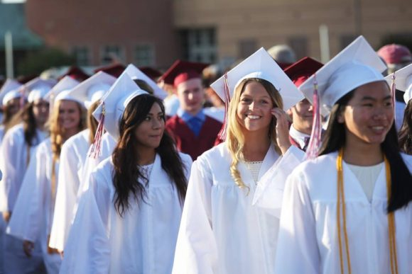 The girls of the Class of 2016 filed into the stadium.