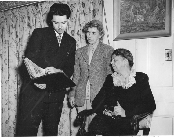 WITH THE 'FIRST LADY OF THE WORLD' – Henry Josten interviewed Mrs. Franklin D. (Eleanor) Roosevelt (right) during one of her visits with Esther Lape (center) in Westbrook in the late 1940s. (George Emery Photo).
