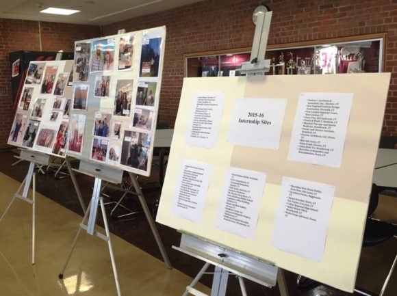 Poster boards listed all the businesses and organizations which had taken interns during the 2015-16 academic year.