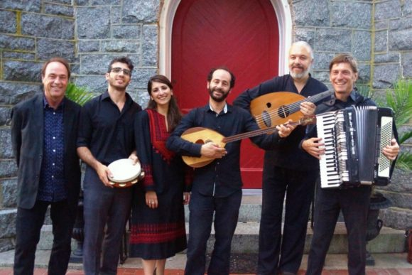 Ramzi Aburedwan (third from right) stands with the other members of the Dal'Ouna Ensemble that will be performing in Old Lyme on Sept. 30.
