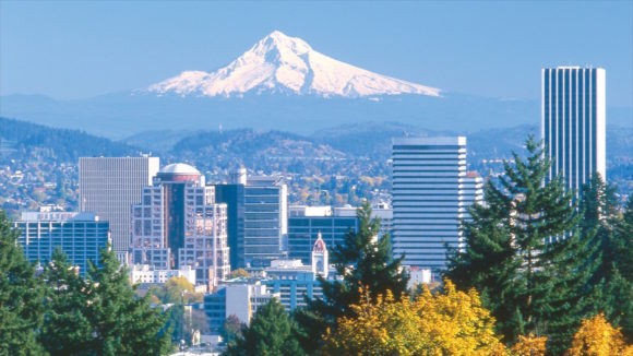 Portland, Oregon, with Mount Rainier providing a stunning backdrop.