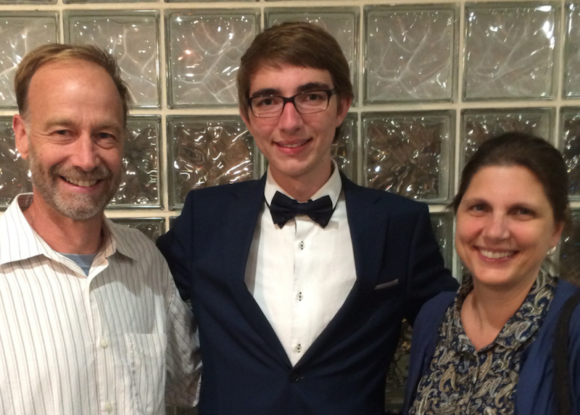 Francis Bealey Memorial Scholarship winner Austin Rannestad stands with his parents John and Jennifer Rannestad John Rannestad,
