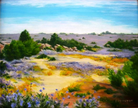 One of the signature paintings by Phyllis Bevington that will be on display in Essex Library's September exhibition.