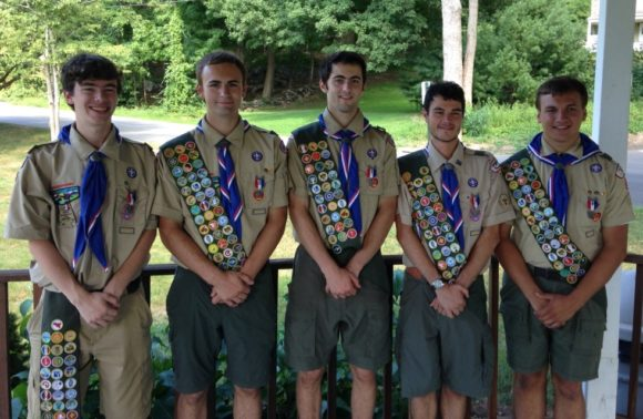 Chester/Deep River Boy Scout Troop 13 presents five new Eagle Scouts: from left to right are Andrew Myslik, Jacob Beauliu, Adam Dalterio, Benjamin Toles and  Alexander Maxwell VI.  Photo by Alexander Toles.