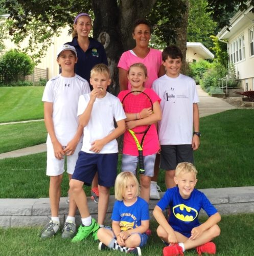 Madison Racquet & Swim Club and The Country School held a joint open house at The Country School's Rothberg Tennis Center to celebrate their new partnership. Pictured are: (top row) Taylor Fay and Dawn Fagerquist, both pros at Madison Racquet; (middle row) youth players Will de Chabert, Sam Duffy, Loden Bradstreet and John Kelly; (sitting) Ellery Bradstreet and Connor Duffy.