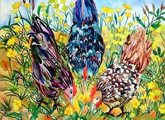 'Three Hens' by Claudia van Nes