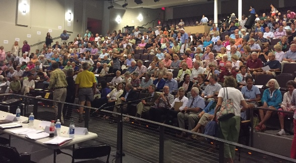 More than 500 people packed the auditorium at the Lyme-Old Lyme High School for the FRA public session on Wednesday. Daniel Mackay photo