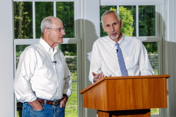 Lyme First Selectman Ralph Eno (left) today endorsed Essex First Selectman Norm Needleman for State Senator.