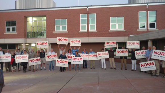 Prior to the debate, Needleman supporters were out in force in front of Lyme-Old Lyme High School.