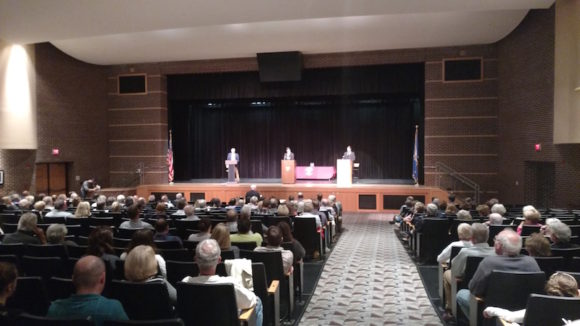 A view of the debate stage from the rear of the Valley Regional High School auditorium