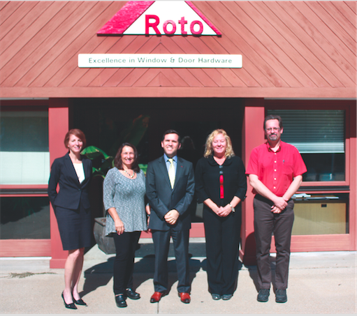 Gathered for a photo during the visit are (from left to right) Debra Wallis, CFO, Roto Frank of America; Lauren Gister, Chester First Selectwoman; Chris Dimou, President and CEO, Roto Frank of America; Carolynn Linn, Chester Selectwoman; Erik Ostby, Plant Manager