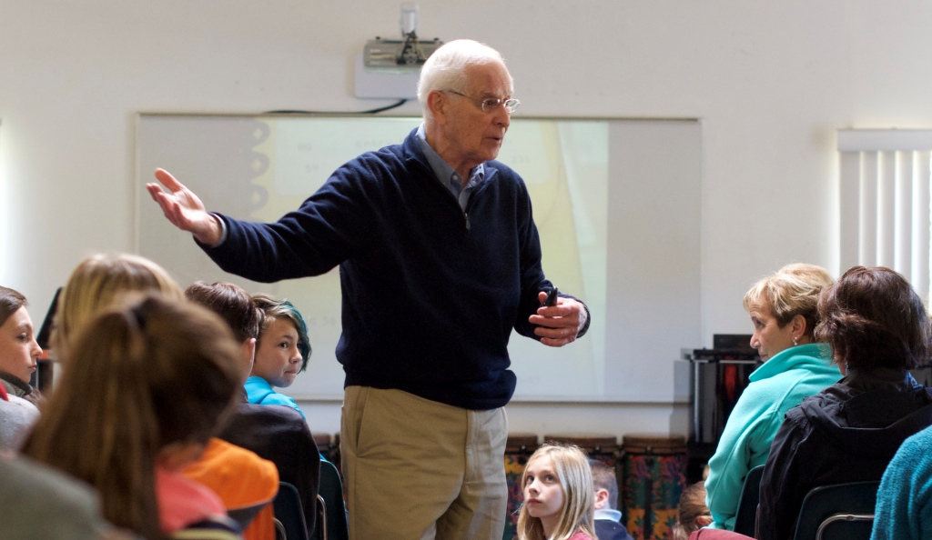 Author Robert Gillette addresses Middle School students at The Country School.