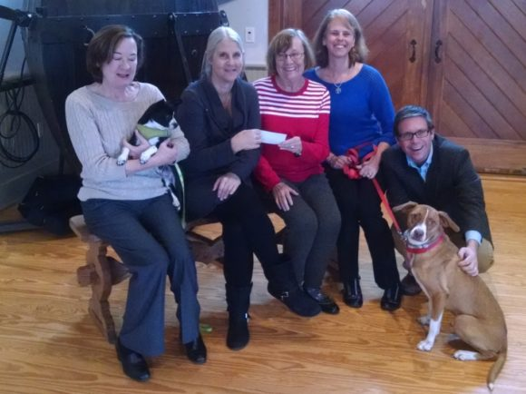 Pictured in the photo are, left to right: Joan Meek, CRM business manager and her dog Lyddie, Sue Hotkowski of Homeward Bound CT, Connie Connors, Essex Board of Trade, Jennifer White-Dobbs, CRM Education Director, Chris Dobbs, CRM Executive Director and Toby.  Both dogs are Homeward Bound CT rescues.
