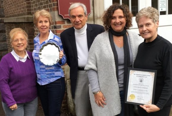 Essex Garden Club (EGC) Civic Committee Chairs (past and present) pose holding their civic awards with EGC President Augie Pampel.  From left to right are Janice Strait, Suzanne Tweed, Pampel, Barbara Powers and Liz Fowler.